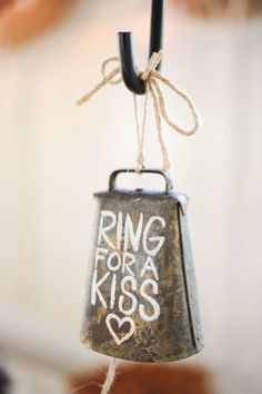 Wedding bells aren't necessarily the only things ringing at farm wedding! For a memorable reception idea or even a wedding send-off, paint a rustic cowbell with this cute saying. Wedding Send Off, Wedding Kiss, Farm Wedding, Diy Wedding, Wedding Events, Wedding Day, Wedding Bells, Wedding Backyard, Wedding Tables