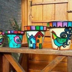 Result of image for painted pots Clay Flower Pots, Flower Pot Crafts, Clay Pot Crafts, Clay Pots, Painted Plant Pots, Painted Flower Pots, Pottery Painting, Ceramic Painting, Flower Pot Design