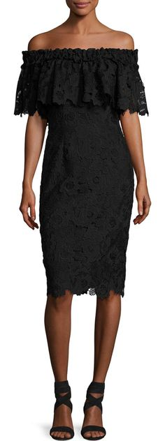 Off-the-Shoulder Floral Lace Popover Cocktail Dress by Badgley Mischka. Badgley Mischka cocktail dress in floral lace. Ruffle off-the-shoulder neckline. Popover detail at bust. Princess sea...