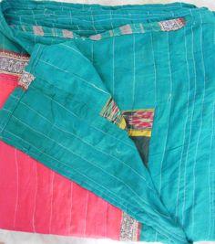 Vintage Kantha Quilt Throw Blanket bedspread Reversible Black Ikat Red patch work design Unique Borders Queen  size