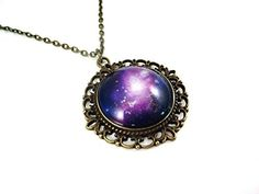 Glow in the Dark Purple Galaxy Necklace in Vintage Bronze 25mm Setting Space Nebula Charm w/Uv Flashlight by Little Gem Girl -- Awesome products selected by Anna Churchill