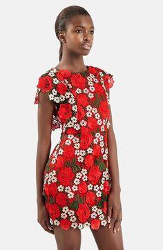 Topshop Floral Lace A-Line Dress | Nordstrom @no