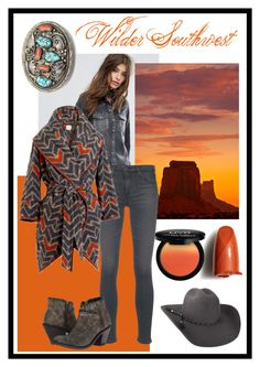 """""""Wilder Southwest:  Sunrise, Monument Valley"""" by wildersouthwest ❤ liked on Polyvore featuring Levi's, Shiseido, NYX, Bailey Western, AG Adriano Goldschmied, M&S, Old West, southwestern and southwest"""
