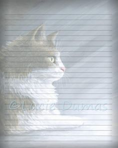 Digital Printable Journal Page Stationary 8x10 JPG Download Scrapbooking Paper Cat 594 Template art painting Lucie Dumas by DigitalsbyLucie on Etsy