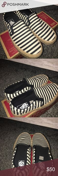 😍😍Striped Canvas Vans😍😍 ❤❤Black and White Canvas Vans straight out of the box. The only time they have been worn is to try on.  ‼️Downsizing so make me an offer‼️ Vans Shoes Flats & Loafers