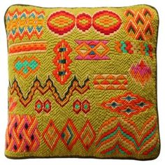 Check out this item at One Kings Lane! Bargello Needlepoint Sampler Pillow