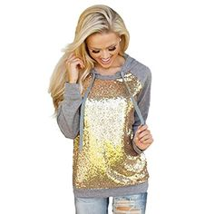 9ec3eb4d9834 DDLBiz(TM) Winter Series Womens Sequins Long Sleeve Hooded Sports Shirt (L,