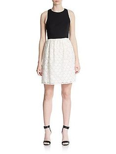 4.collective Embroidered Combo Dress - White Black - Size 6