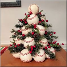 New white leather baseballs christmas tree Christmas Tree Wreath, Diy Christmas Gifts, Xmas Tree, Christmas Holidays, Christmas Ornaments, White Christmas, Holiday Wreaths, Christmas Christmas, Holiday Fun