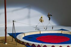 Alexander Calder, Tight Rope Artists from Calder's Circus, 1926-31, Wire, cloth, graphite, leather, lead, paint, and string, dimensions variable, Whitney Museum of American Art, New York, 83.36.48 and 83.36.50, Photograph by Sheldan C. Collins.