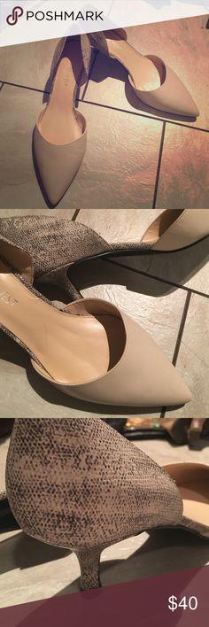 "Nine West heels Nude leather top with snakeskin back/heel. Approximate 1 1/2"". Worn once. Nine West Shoes Heels"