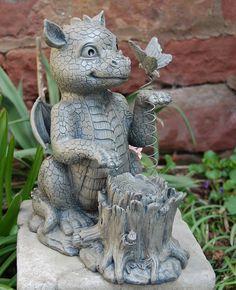 Gartenfigur Drache mit Schmetterling Frostfest Torwächter Gargoyle NEU | eBay