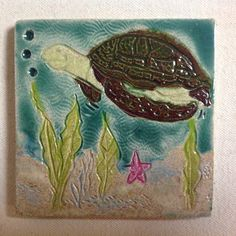 Sea turtle tropical tile 4 inch