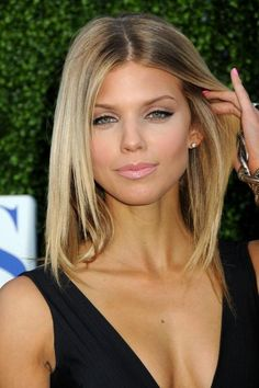 lovely with layers angled toward face, nice flat iron style