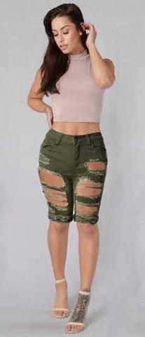 GREEN RIPPED SHORT JEANS-JEANS-modefame $30.99