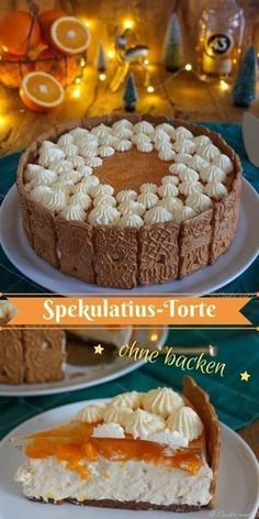 Spekulatius-Torte mit Mandarinen (no bake - Daniela Schur - online Cake Recipes Speculat cake with tangerines (no bake) . Mandarin tart pastry pie (no bake) Quick Dessert Recipes, Easy Cake Recipes, Baking Recipes, Cookie Recipes, Vegan Recipes, No Bake Cookies, Cookies Et Biscuits, No Bake Cake, Cheesecake Cookies