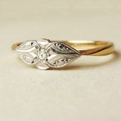 Art Deco Diamond Solitaire Teardrop Design Ring by luxedeluxe, $398.00