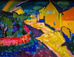 Wassily Kandinsky - Murnau - Landscape with Rainbow, 1909 at Lenbachhaus Art Gallery Munich Germany