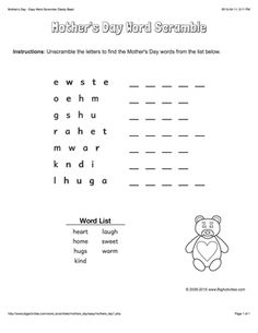 Mother's Day word scramble with a cute teddy bear. 4 levels of difficulty. Scrambled words change each time you visit