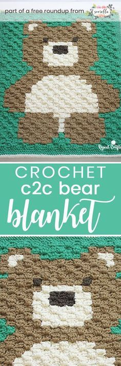 Crochet this easy brown bear C2C boys baby blanket graphgan from Repeat Crafter Me from my crochet baby blankets for boys free pattern roundup!