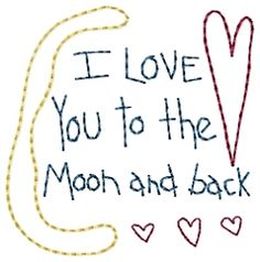 Moon and Back Sampler - 4x4 | Primitive | Machine Embroidery Designs | SWAKembroidery.com HeartStrings Embroidery