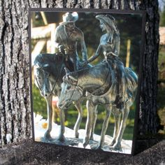 Cowboy Cowgirl Holding Hands Statue Greeting by CardstockEquine, $3.50