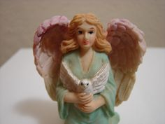 Angel Holding White Dove, hand painted ceramic, vintage by BackStageVintageShop on Etsy