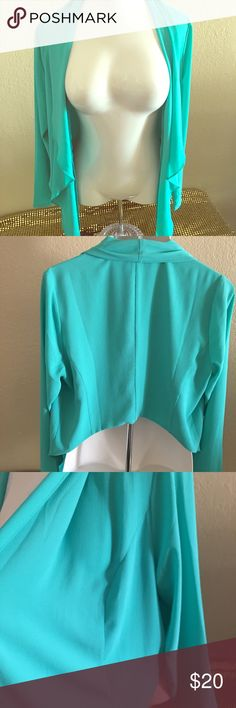 Cropped Drape Front Blazer NWT!! Pretty Turquoise color crepe material easy blazer. Great for layering with jeans, dresses, skirts and leggings. Make an offer! torrid Jackets & Coats Blazers