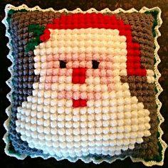 Crochet Santa pillow (graph pattern) using bobble stitch ⛄ Crochet Bobble Blanket, Bobble Stitch Crochet, Crochet Wool, Crochet Cushions, Crochet Pillow Patterns Free, Christmas Crochet Patterns, Holiday Crochet, Christmas Knitting, Beaded Flowers Patterns