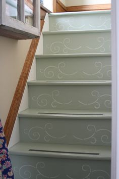 Bob painted the kitchen stairs, I stenciled them then, we added the grip strip. Black Painted Stairs, Painted Stair Risers, Stenciled Stairs, Stenciled Floor, Small Space Interior Design, Interior Design Living Room, Staircase Makeover, Carpet Stairs, Cottage Interiors