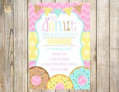 Girly Donut Birthday Party Invitation by EmmyJosParties on Etsy