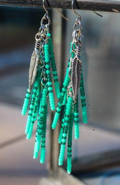 """3""""Gypsy Waterfall Earrings~Silver Feather Beaded~Bohemian Made~Cowgirl Southwest~Native Inspired Turquoise Crush~Turquoise…"""