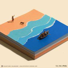 2014.11.14(金)/ 「Paper sea 【海の折り方】 (1)ビリビリっとやぶく。 (2)ビリビリっとやぶく。 (3)ビリビリっとやぶく。 (4)できあがり。」