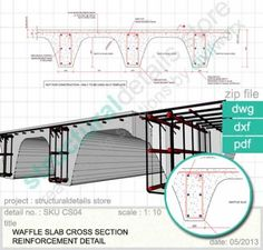 Waffle Slap Cross Section Reinforcement Detail in Reinforced Concrete Library