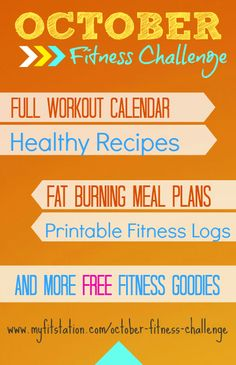 October Fitness Challenge is ON! Grab your free printable Workout Calendar via www.myfitstation.com  Let's get in TOP shape this month :))