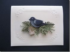"By Linda Fisher. Bird made with Stampin' Up ""Two-Step Bird Punch."" Nest made with McGill branch punch. [Martha Stewart one would work also.] Pine cones stamped and cut out. Frame is dry embossed (Cuttlebug folder)."
