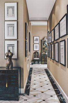 Classical Art Lines the Hall of A Traditional San Francisco Residence