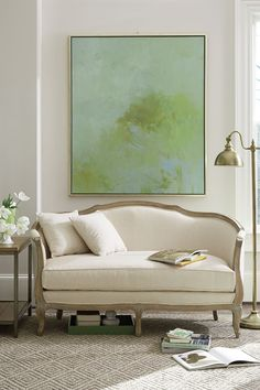 love the couch; love the print; different colors for my living room. ballard designs blog