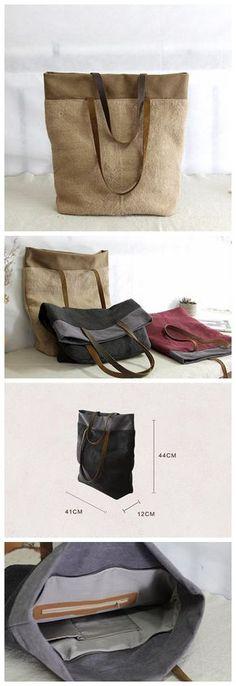 Women Shoulder Canvas Bag, Canvas Leather Bag, Shopping Bag YY016