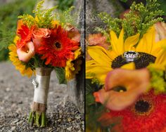 red and yellow sunflower bouquet and a touch of fall colors #red #yellow #bouquet #fallbouquet #summerbouquet