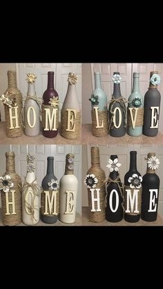 Home sets (4 bottles) Love sets ( 4 bottles) Family sets (6 bottles) I also do custom orders with any wording (such as last name) priced as 4 bottles and each additional bottle after 4 is $7 each. Many colors to choose from, have some listed below but if you are looking for another