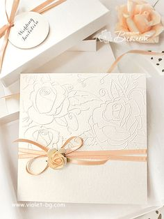 Handmade wedding invitation with embossed roses and peach pink decoration, rose themed wedding Embossed Wedding Invitations, Wedding Anniversary Invitations, Handmade Wedding Invitations, Wedding Stationery, Engagement Invitation Cards, Wedding Invitation Wording, Tarjetas Diy, Wedding Cards Handmade, Invitation Card Design