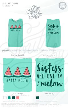 Kappa Delta | KD | Sisters are One in a Melon | Bid Day | Recruitment | Sisterhood | South by Sea | Greek Tee Shirts | Greek Tank Tops | Custom Apparel Design | Custom Greek Apparel | Sorority Tee Shirts | Sorority Tanks | Sorority Shirt Designs