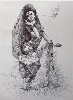 Dance Paintings, Indian Art Paintings, Art Drawings Sketches Simple, Pencil Art Drawings, Character Sketches, Character Drawing, Bengali Art, Human Sketch, Indian Art Gallery