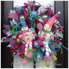 Christmas Wreath Snowman Wreath Whimsical by CreatedByTerri