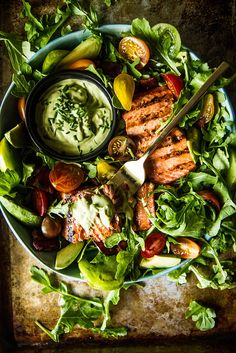 BLT Salmon Salad with Green Goddess Dressing by heatherchristo #Salad #Salmon #BLT #Green_Goddess #Healthy