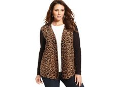 Charter Club Plus Size Merino-Wool Cheetah-Print Cardigan - Sweaters - Plus Sizes - Macy's