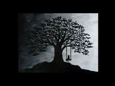 Monochrome Acrylic Painting-Tree Swing & Cat Silhouette-Painting with Black & White Acrylic Paint Acrylic Painting Trees, Acrylic Painting Tutorials, Silhouette Painting, Cat Silhouette, White Acrylic Paint, White Acrylics, Monochrome, Black And White, Cats