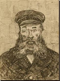 """Vincent van Gogh, """"Portrait of Joseph Roulin,"""" Drawing, x cm x 9 in. Van Gogh described Roulin as, """"A good soul and so wise and so full of feeling and so trustful. Vincent Van Gogh, Desenhos Van Gogh, Van Gogh Arte, Van Gogh Drawings, Ink Drawings, Theo Van Gogh, Van Gogh Portraits, Cross Hatching, Art Van"""