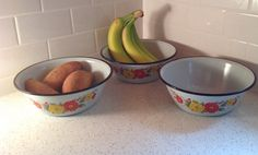 I love using enamelware like this  https://www.etsy.com/listing/228661656/vintage-enamelware-bowls-with-flowers
